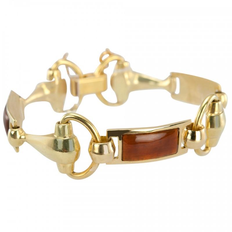 Gucci Gold Horsebit Bracelet with Brown Enamel