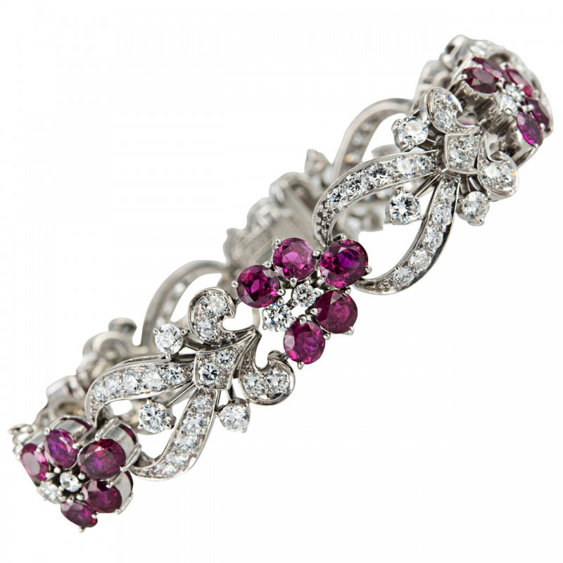 Tiffany & Co. Diamond and Ruby Floral Bracelet