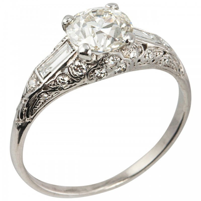1.18 Carat Old European Cut Diamond Art Deco Engagement Ring