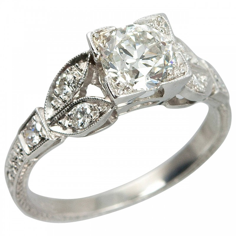 0.79 Carat Old European Cut Diamond and Platinum Engagement Ring