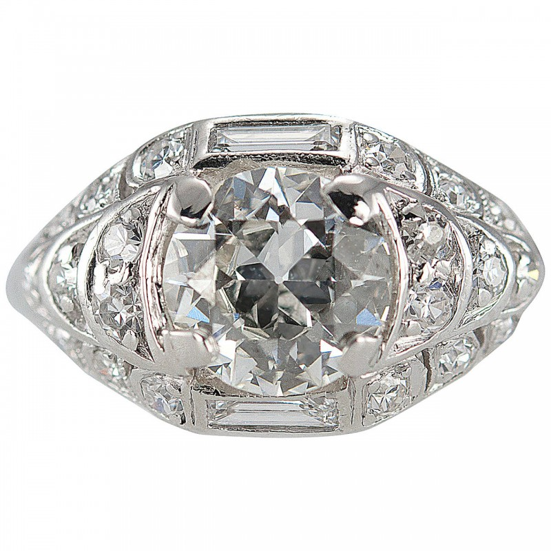 1.18 Carat Old European Cut Diamond and Platinum Engagement Ring