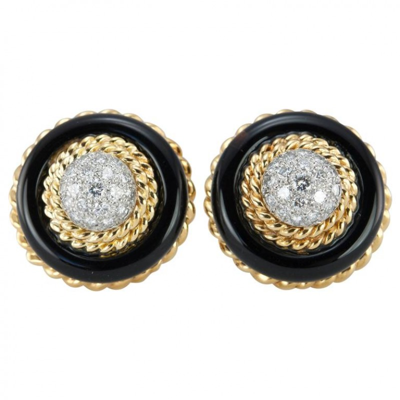 Van Cleef and Aprels Diamond, Onyx, Gold Clip-On Earrings