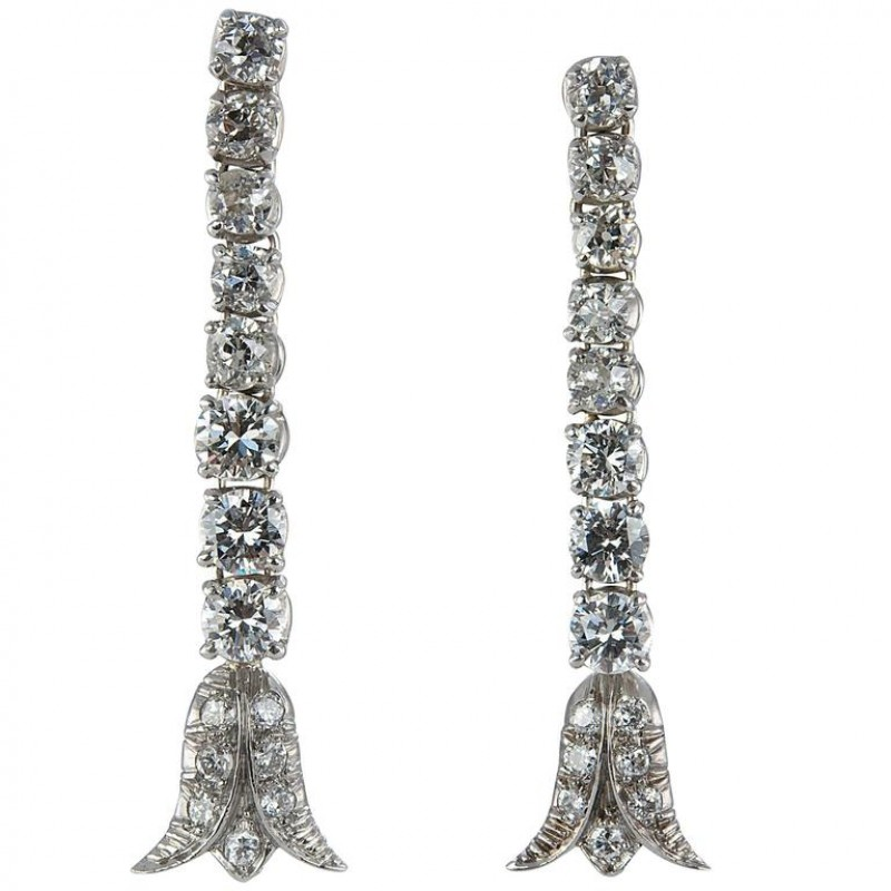 Art Deco Diamond Platinum Dangle Earrings
