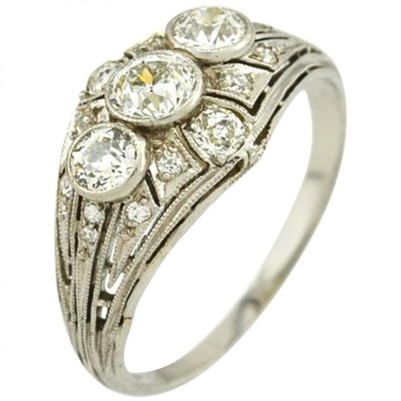Art Deco 3-Stone Diamond and Platinum Ring