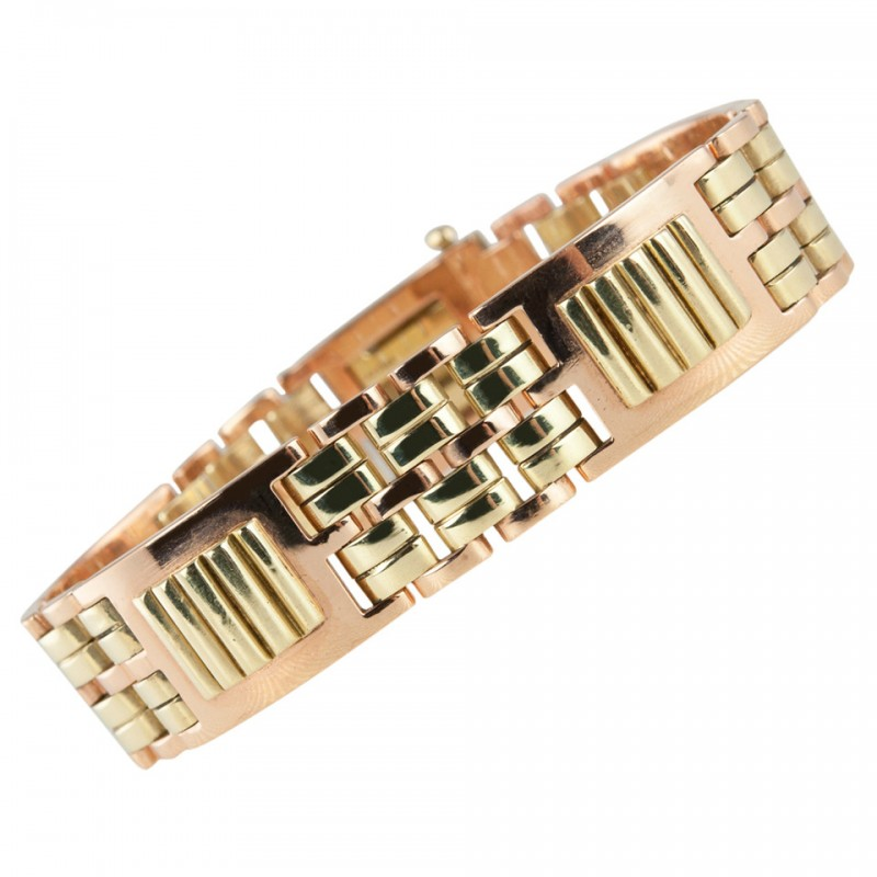 Cartier Retro Rose and Yellow Gold Link Bracelet