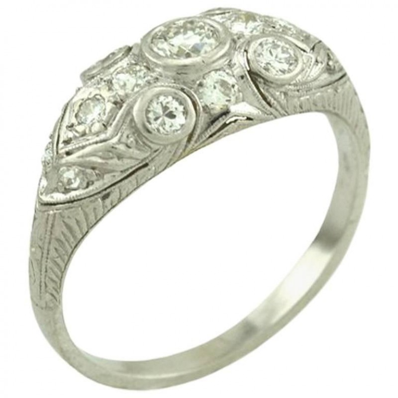 Art Deco Old European Cut Diamond and Platinum Ring Circa 1930