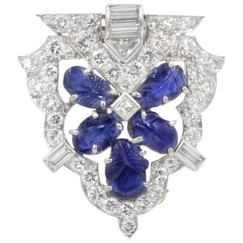 Raymond Yard Art Deco Carved Sapphire and Diamond Platinum Brooch