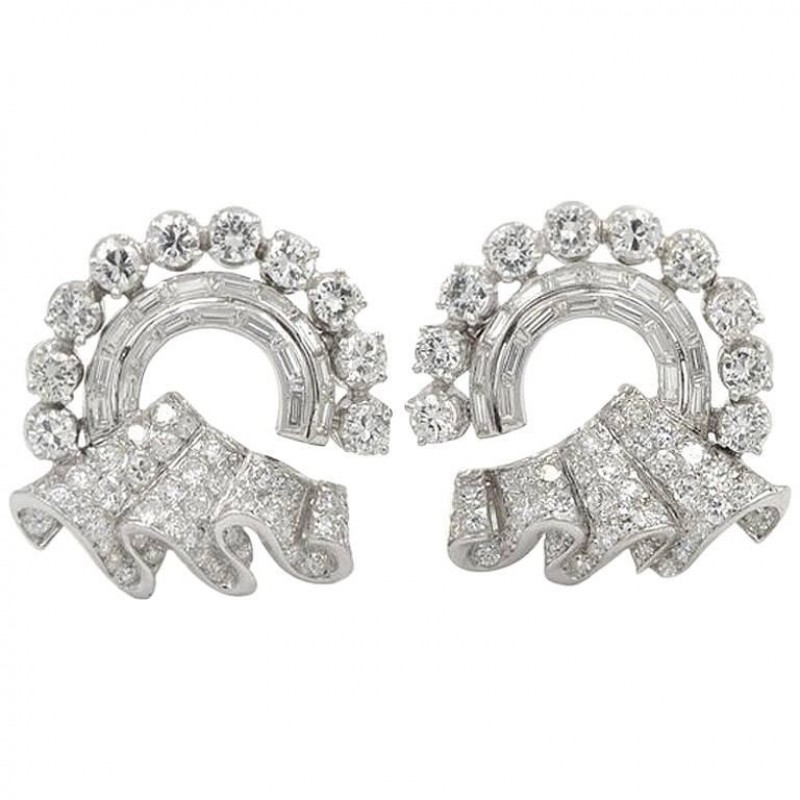 1950s Circular Ribbon and Platinum Earrings with 8 Carats of Diamonds