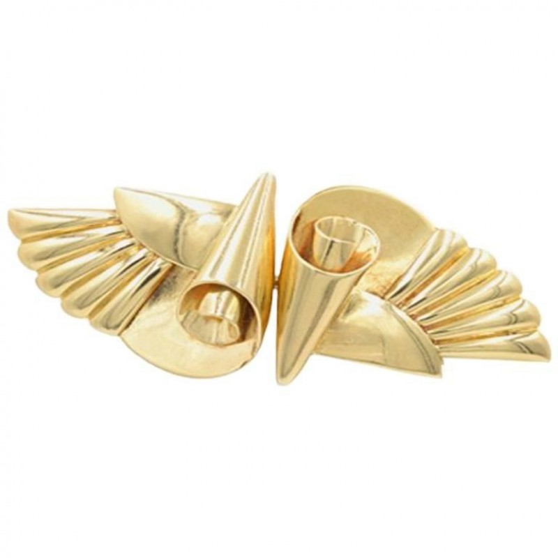 Krementz 14K Gold Retro Double Clip Wing Brooch