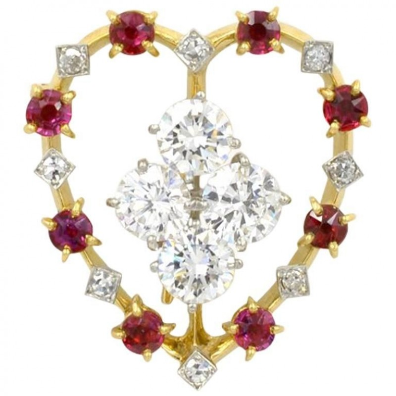 Cartier Ruby and Diamond Platinum and 18K Gold Heart Brooch