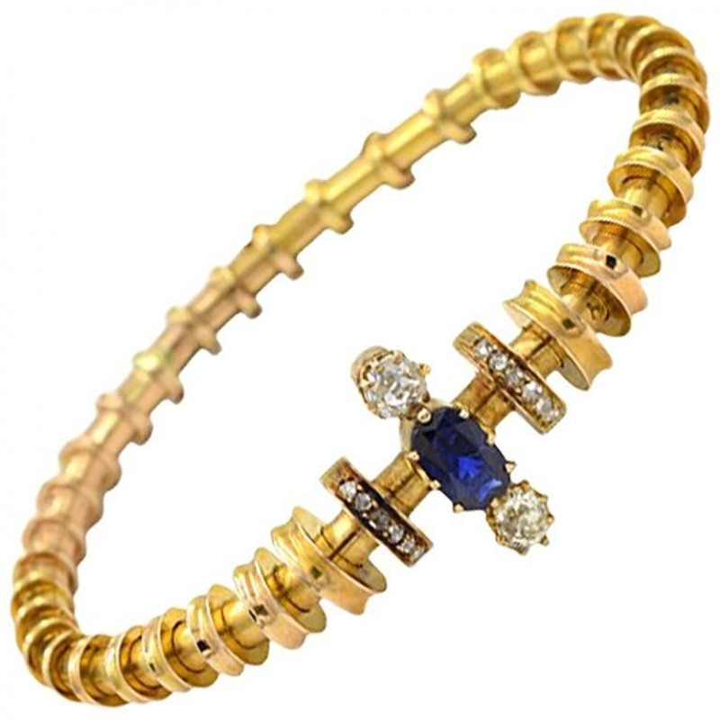 Victorian Sapphire and Diamond 14K Gold Bracelet Circa 1900