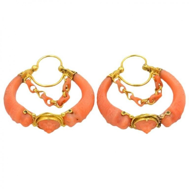 Antique Victorian 18K Gold and Carved Coral Hoop Earrings