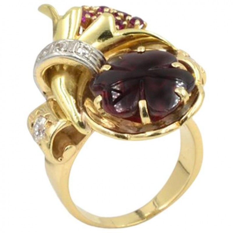 Retro Carved Garnet, Diamond, and Ruby 14K Gold Ring
