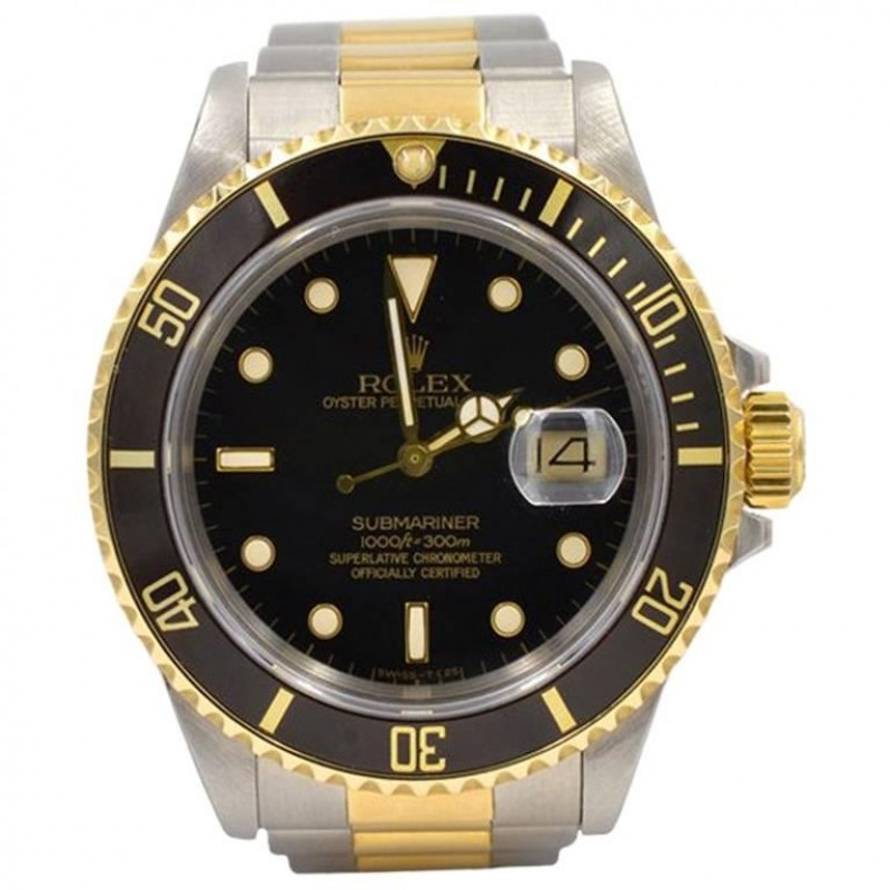 Rolex Two-Tone Submariner Wristwatch in 18K Gold and Steel, Ref 16803 Circa 1985