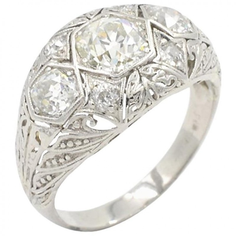 Art Deco Three-Stone Diamond and Platinum Ring Circa 1930s