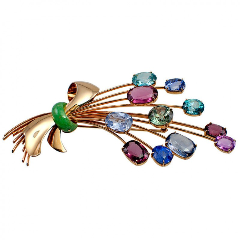 Giant Colored Stone Spray Brooch