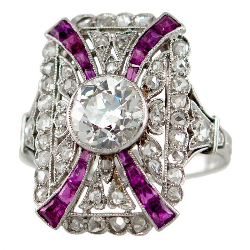 Edwardian Diamond and Ruby Platinum Ring Circa 1910