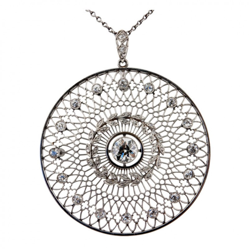 Platinum Diamond Disc Pendant