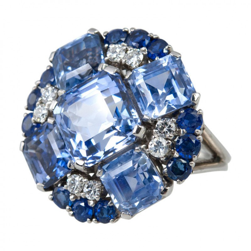 Oscar Heyman Natural Sapphire and Diamond Platinum Ring Circa 1950