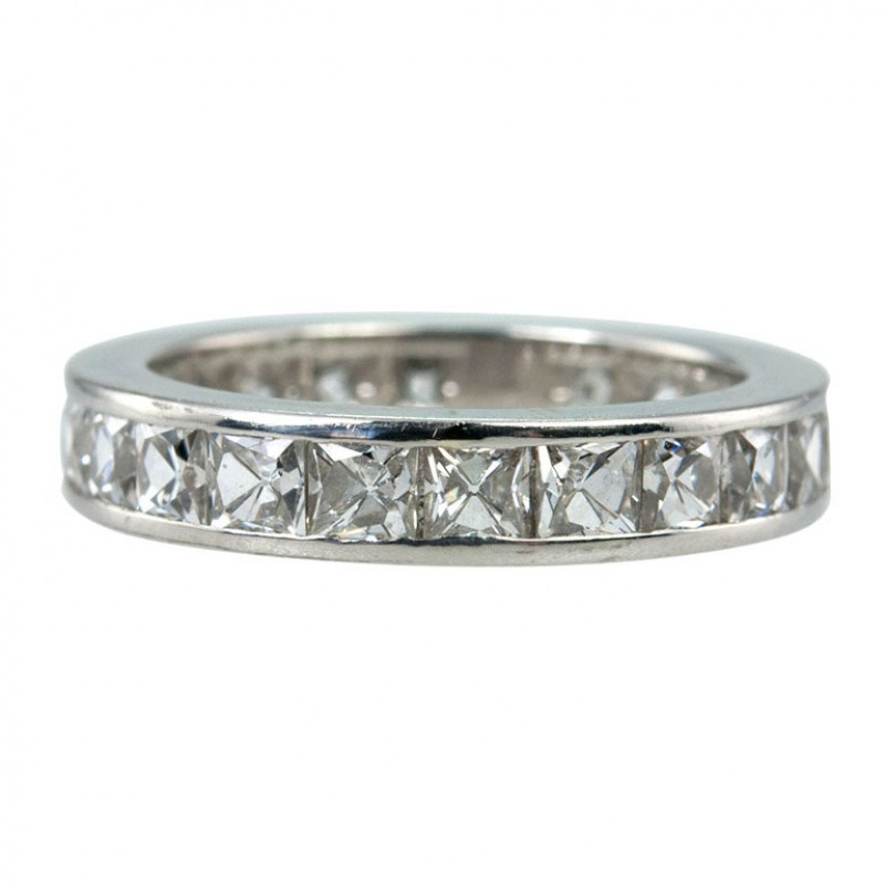Contemporary French Cut Diamond Band