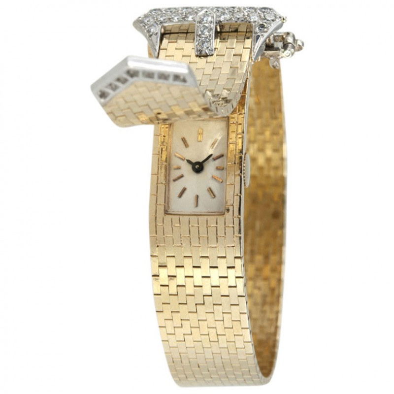 Lady's Yellow Gold and Diamond Retro Concealed-Dial Bracelet Watch