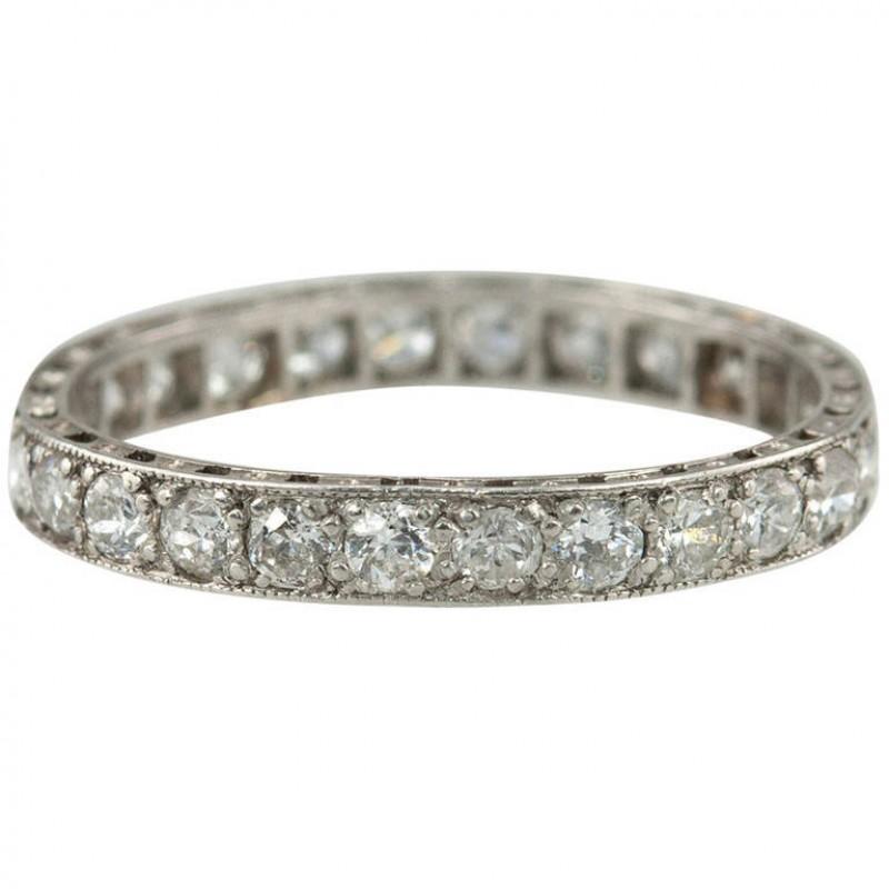 1920s Diamond Bead Set Eternity Band in Platinum