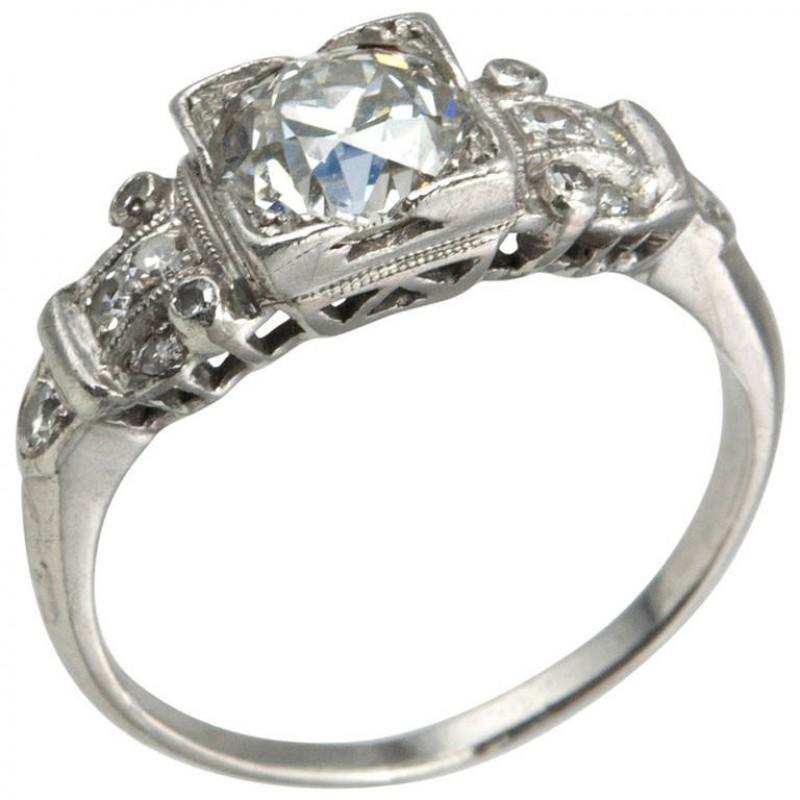 Art Deco 1.14 Carat Diamond Platinum Engagement Ring
