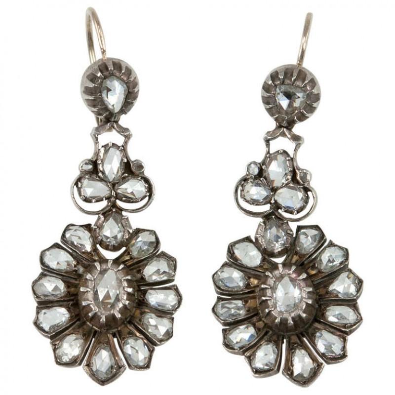 Rose Cut Diamond Victorian Earrings