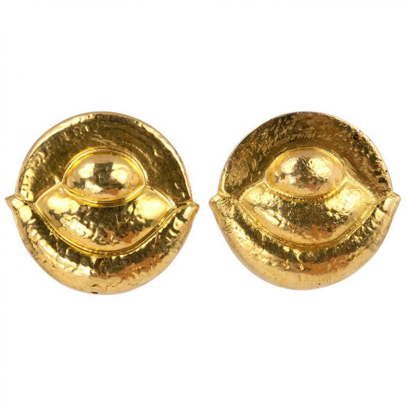 Hammered Gold Clip Earrings