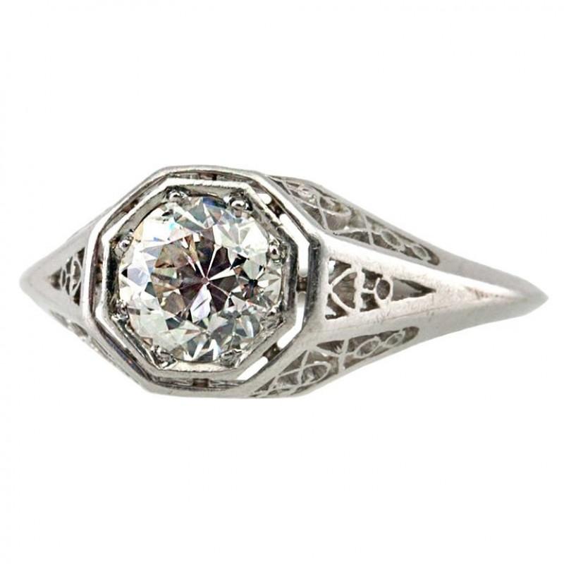 1ct Platinum Art Deco Filigree Engagement ring