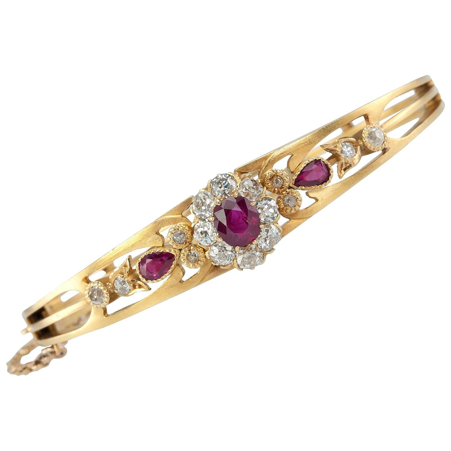 Victorian Burma Ruby And Diamond Cer Gold Bangle
