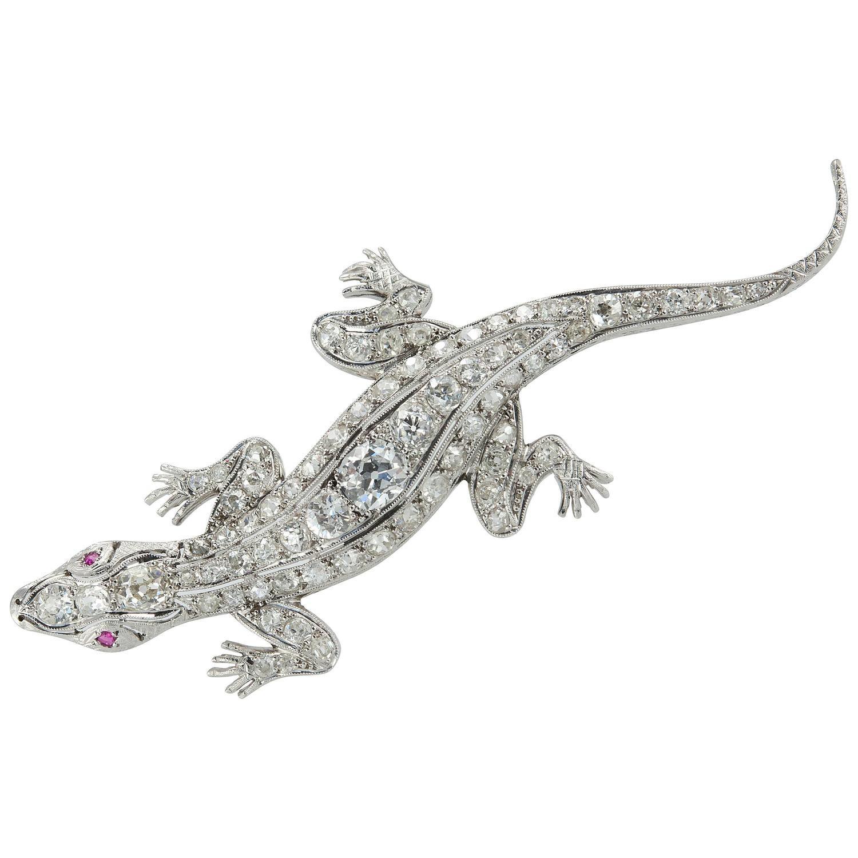 Edwardian Lizard Diamond and Platinum Brooch