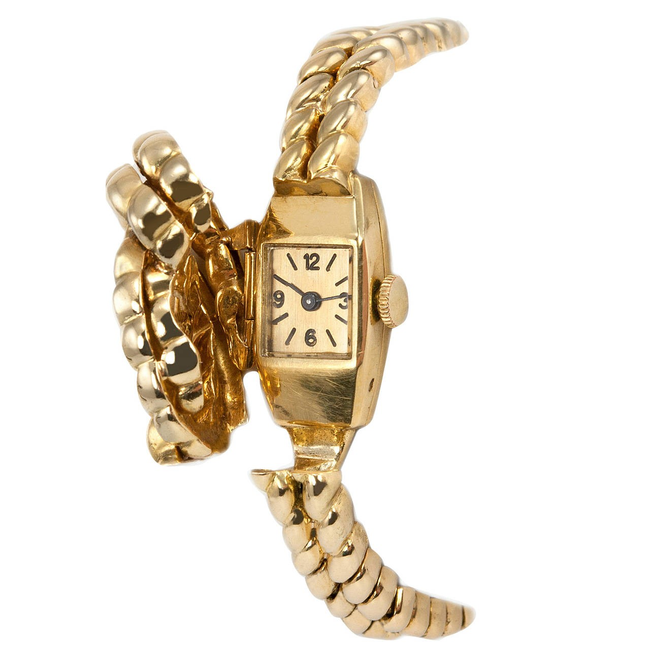 Van Cleef & Arpels Hidden Watch Gold Knot Bracelet, Circa 1960s