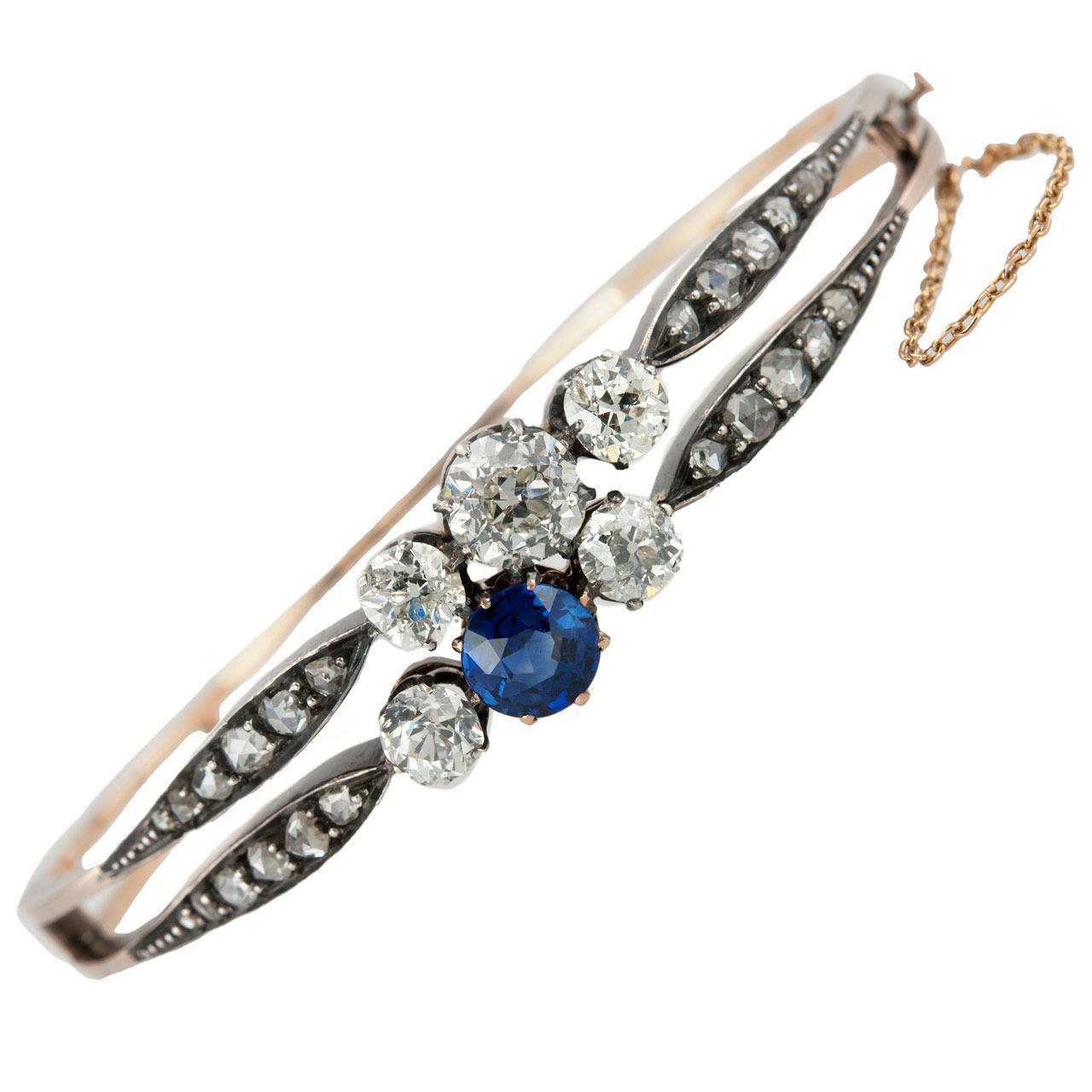 Victorian Diamond and Natural Sapphire Bangle Bracelet