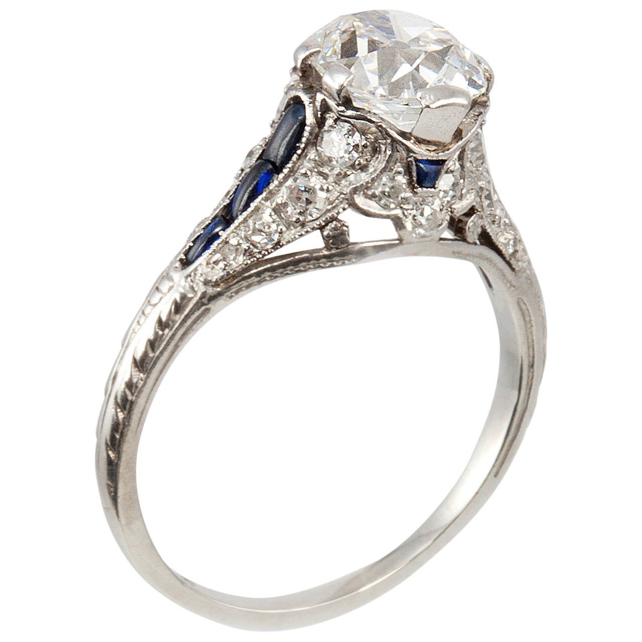 1.57 Carat Cushion Cut Diamond Antique Engagement Ring with Sapphires
