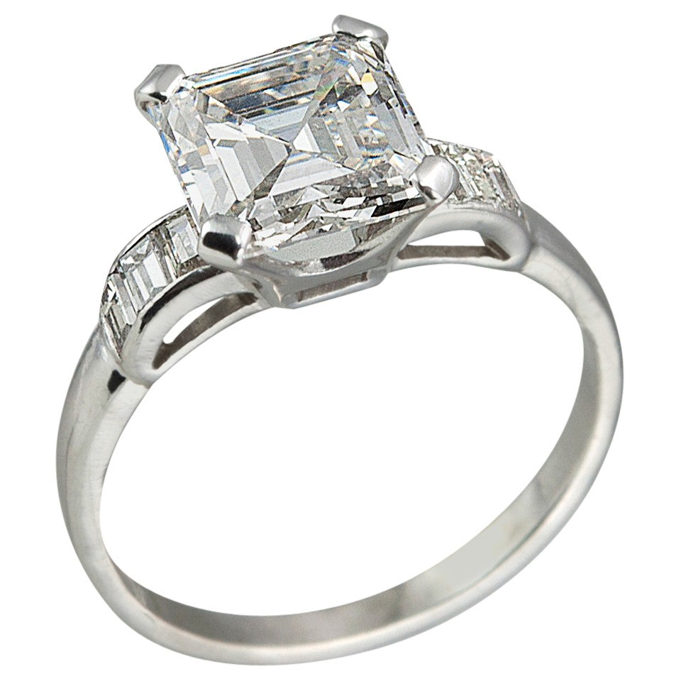 226ct Square Emerald Cut Diamond Engagement Ring, Circa 1930s
