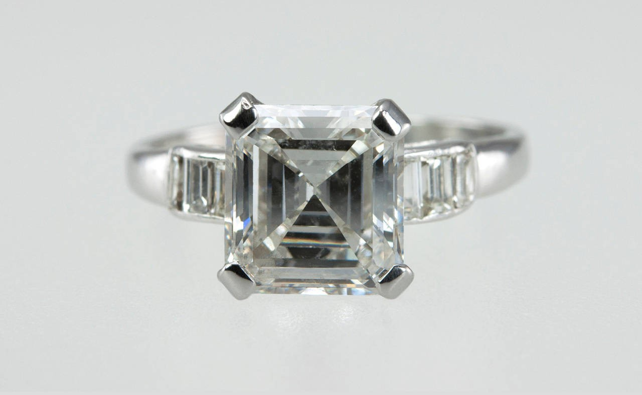 square cut ring diamond engagement platinum at rings antique