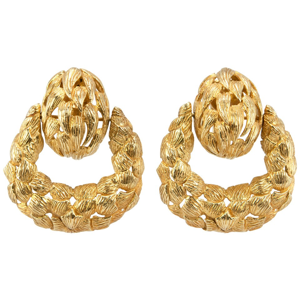 Vintage Door Knocker 18K Yellow Gold Earrings Circa 1970s