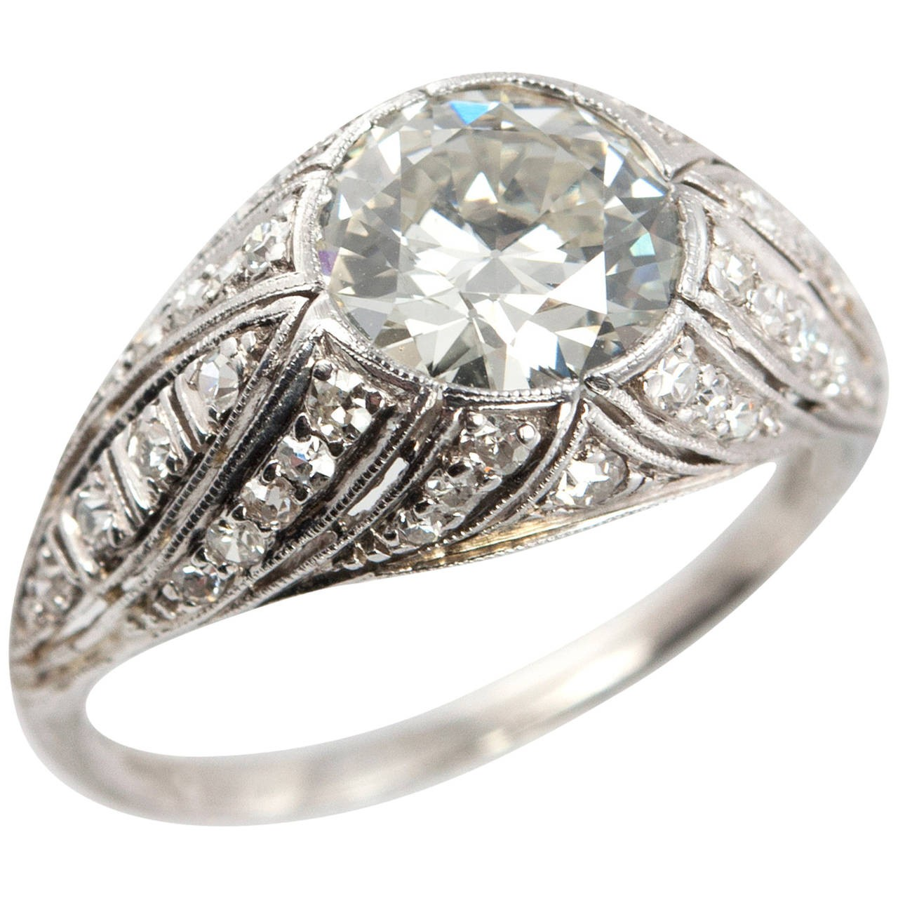 1.29 Carat Diamond and Platinum Art Deco Engagement Ring