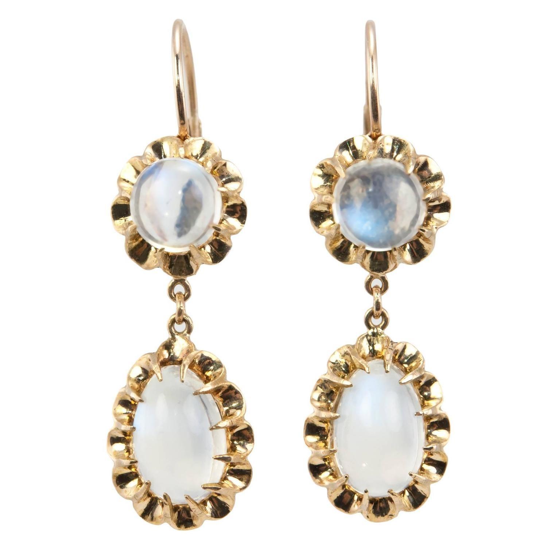 Moonstone Dangle Gold Earrings, Circa 1950s