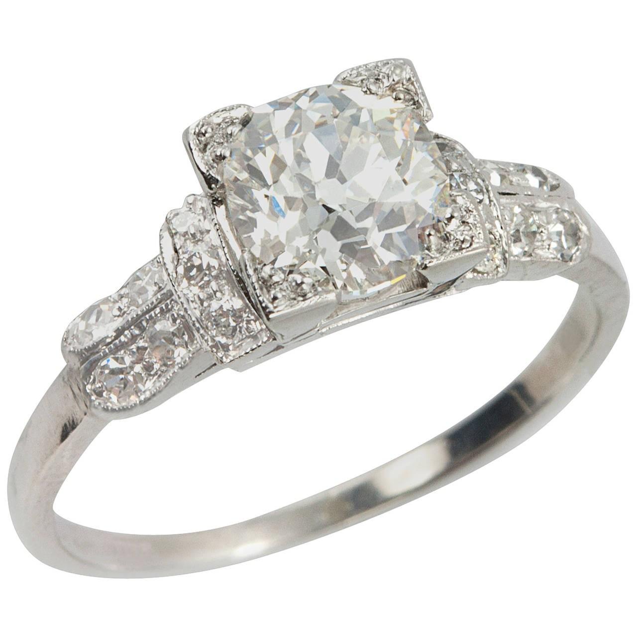 1.01 Carat Cushion Cut Diamond Art Deco Engagement Ring