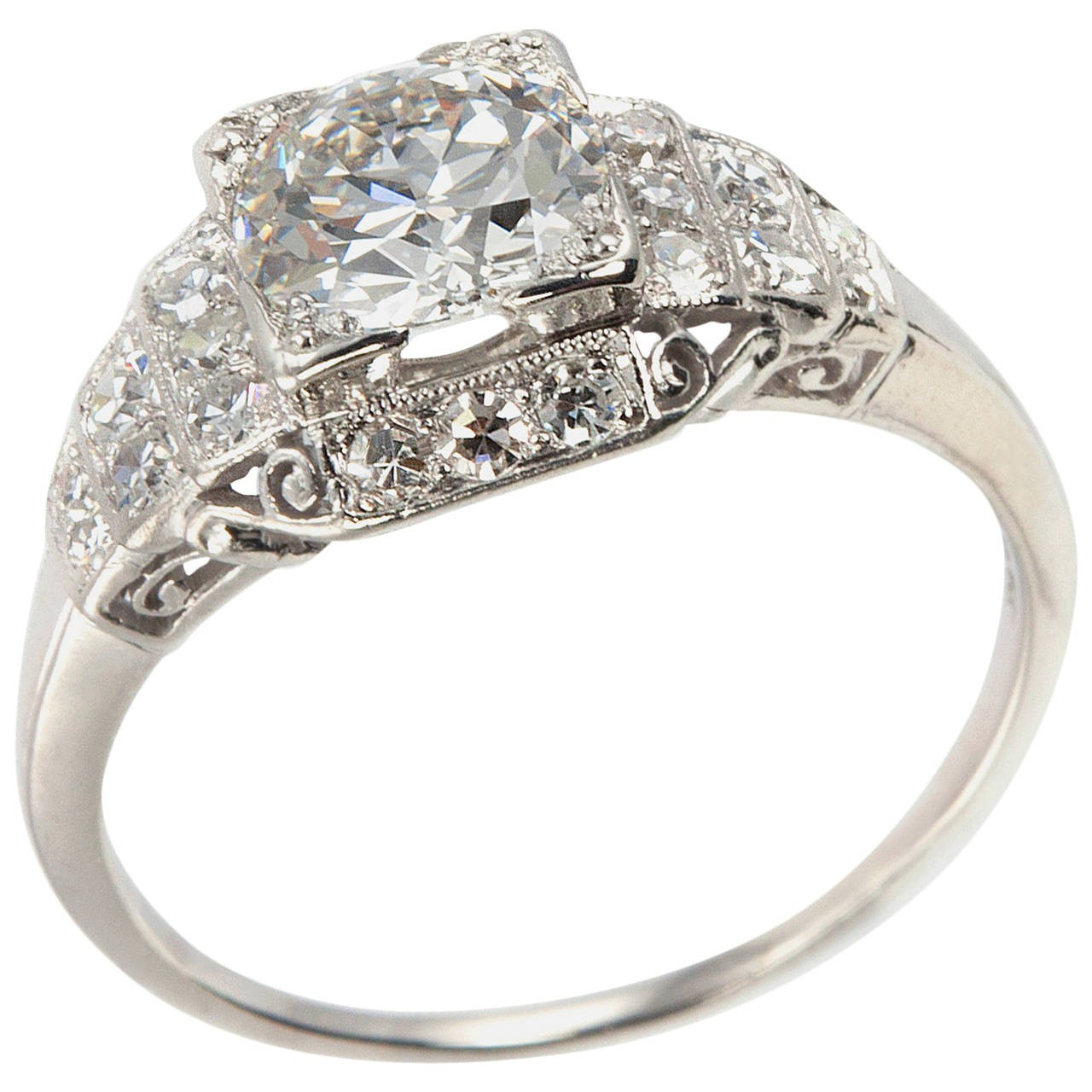 1.04 Carat Old European Cut Diamond Art Deco Engagement Ring