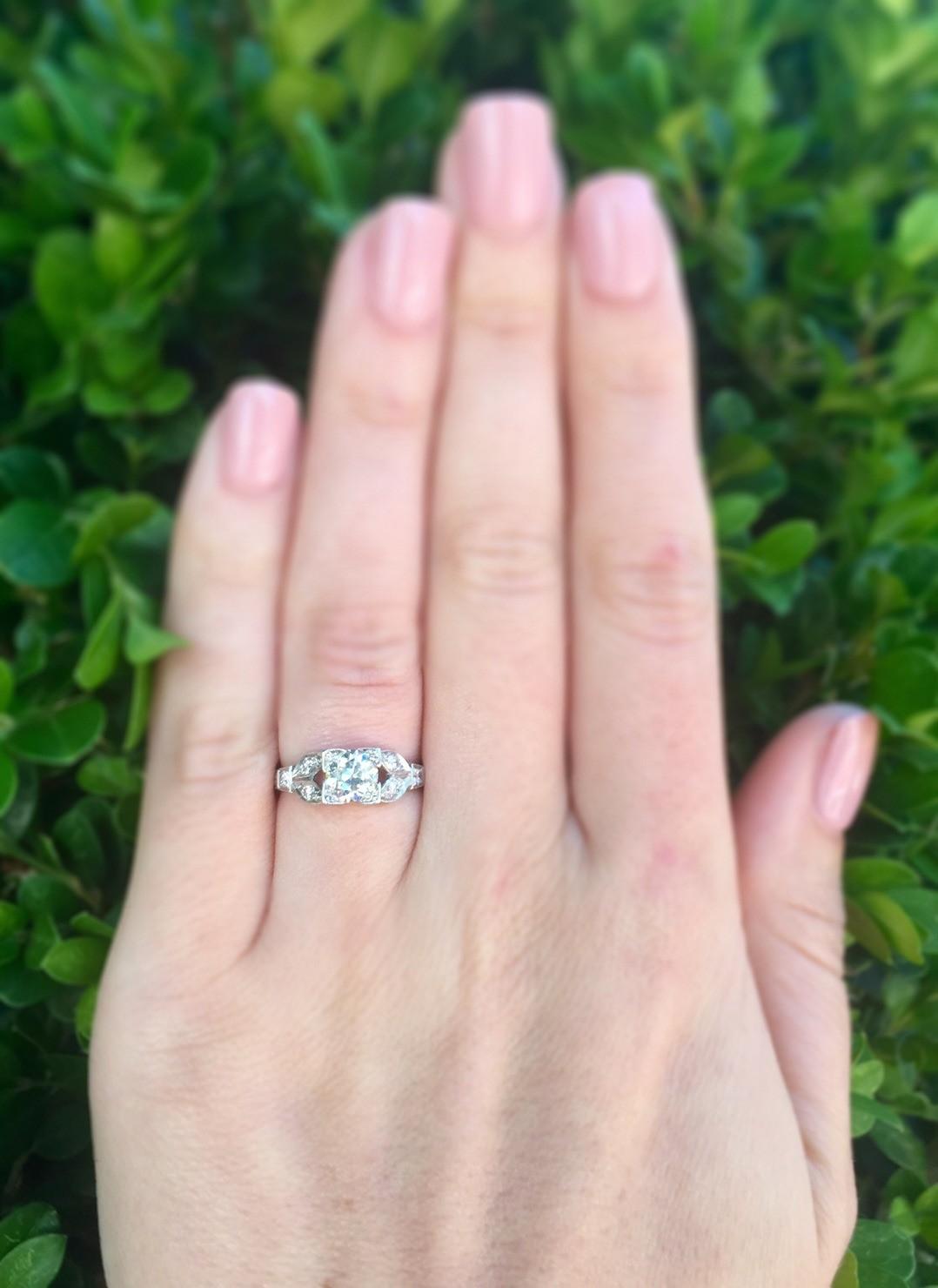 0.79 Carat Old European Cut Diamond and Platinum Engagement Ring ...