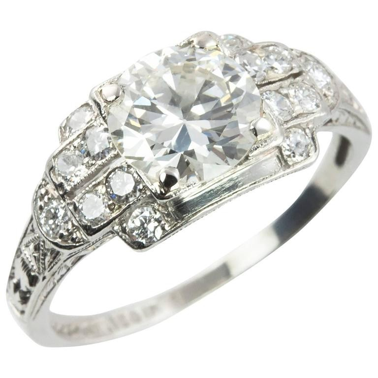 1.02 Carat Old European Cut Diamond and Platinum Engagement Ring