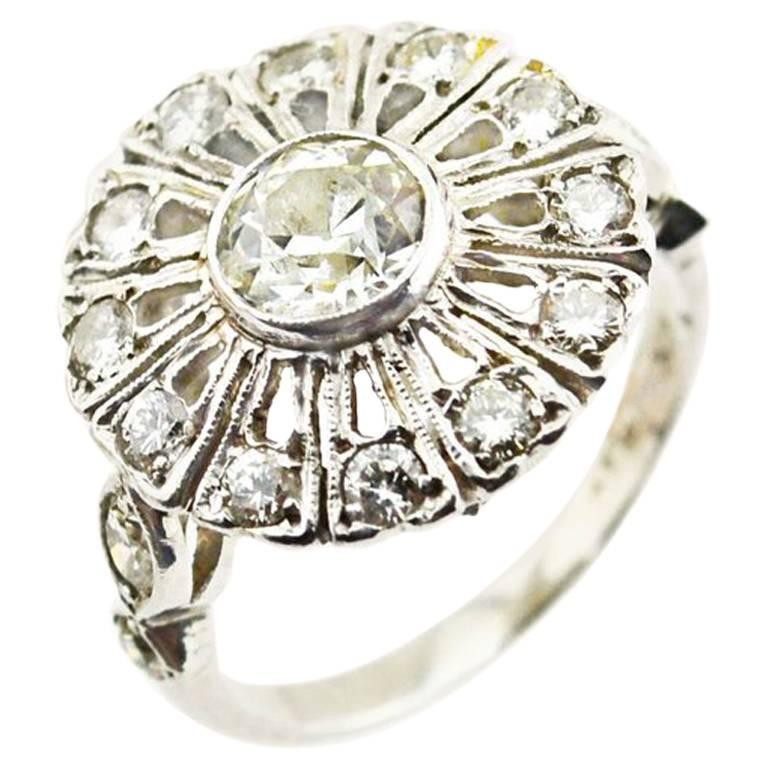 Edwardian Diamond and Platinum Cluster Ring