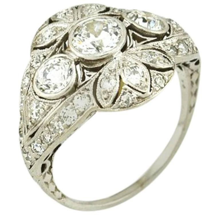 Edwardian Old European Cut Diamond and Platinum Ring