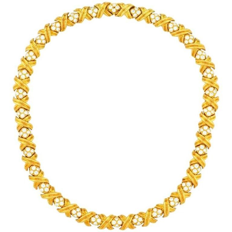 "Tiffany & Co. Signature ""X"" Diamond and Gold Necklace"