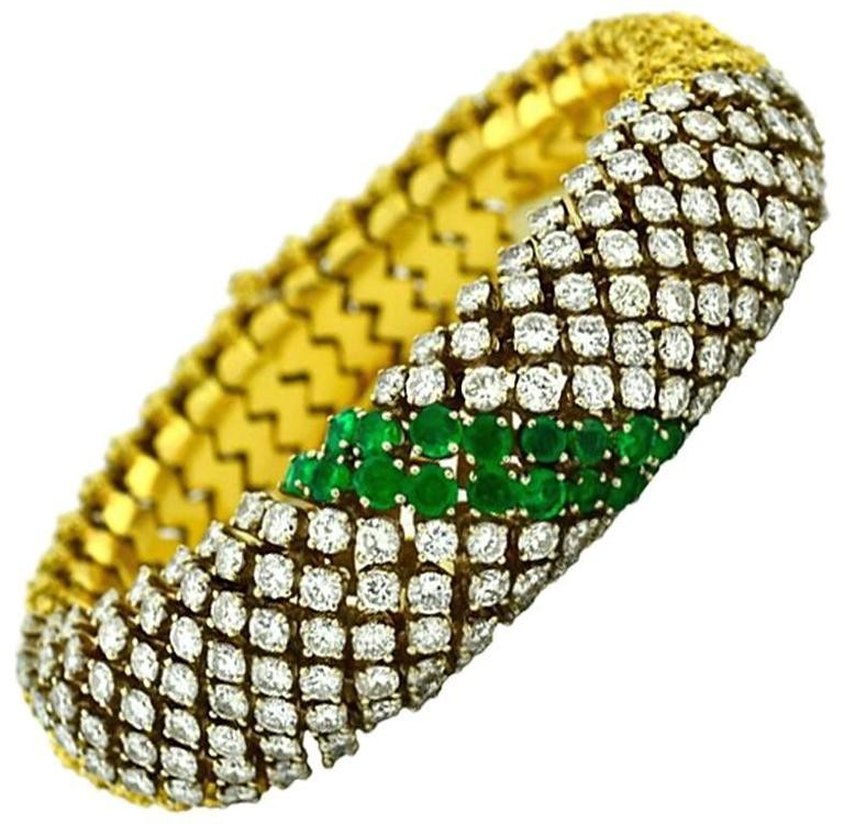 Emerald and Diamond Gold Link Bracelet