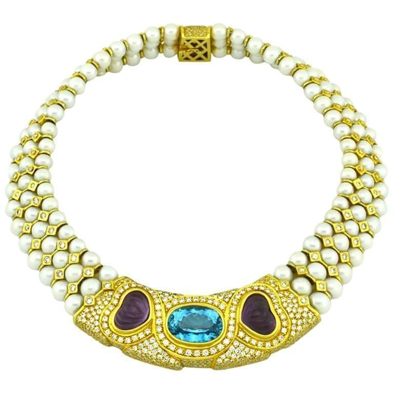1980s Pearl Collar Necklace with Diamonds, Topaz, and Amethysts