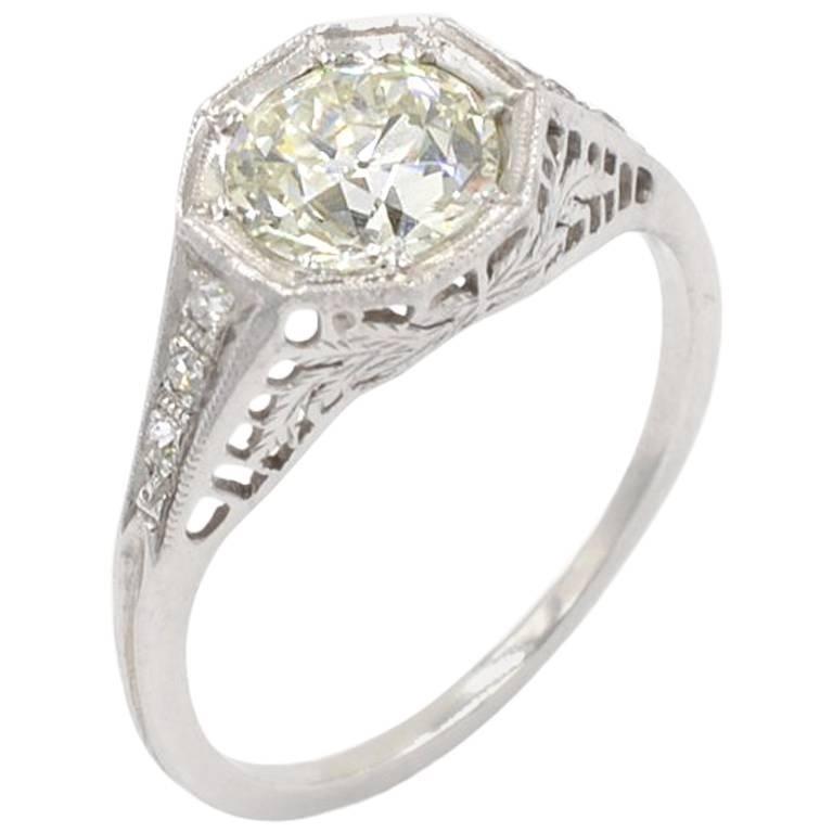 Edwardian 1.25 CT Old European Cut Diamond and Platinum Ring Circa 1910